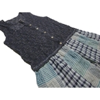 オイペオ「かぎ針編みニット×楊柳チェックノースリーブチュニック」(ママサイズ)